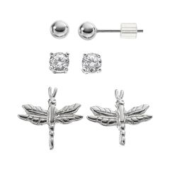 Cubic Zirconia Sterling Silver Dragonfly & Ball Stud Earring Set