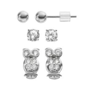 Cubic Zirconia Sterling Silver Owl & Ball Stud Earring Set