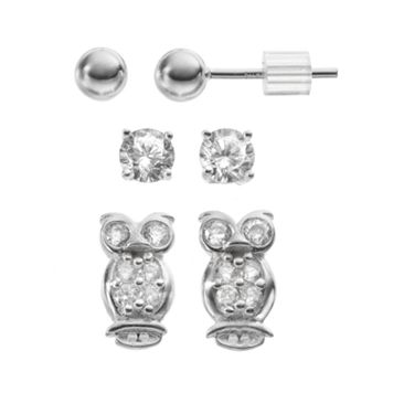 Cubic Zirconia Sterling Silver Owl & Ball Stud Earring Set