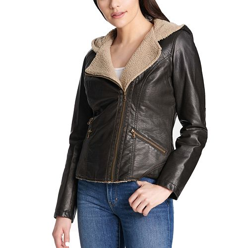 Women's Levi's Faux-Leather Hooded Motorcycle Jacket