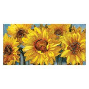 ''Sunburst I'' Sunflower Farmhouse Canvas Wall Art