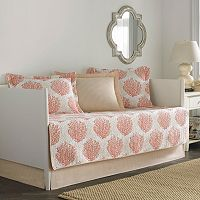 Laura Ashley Lifestyles 5 pc Reversible Coral Coastal Daybed Quilt Set
