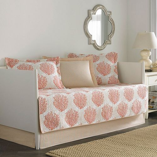 Laura Ashley Lifestyles 5-pc. Reversible Coral Coastal Daybed Quilt Set