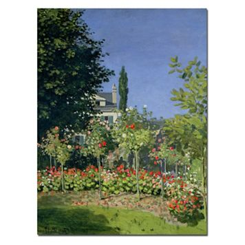 Trademark Fine Art ''Flowering Garden at Sainte-Adresse'' Canvas Wall Art by Claude Monet
