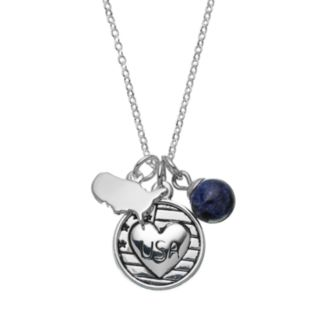 """love this life Sodalite Silver-Plated """"USA"""" Heart Disc Charm Pendant Necklace"""