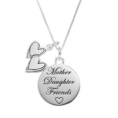Timeless Sterling Silver 'Mother Daughter Friends' Disc & Heart Charm Pendant Necklace