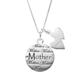 """Timeless Sterling Silver """"Mother Daughter Friends"""" Disc & Heart Charm Pendant Necklace"""