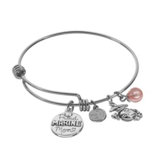 """love this life Cherry Quartz Stainless Steel & Silver-Plated """"Proud Marine Mom"""" Disc Charm Bangle Bracelet"""
