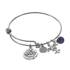 love this life Sodalite Stainless Steel & Silver-Plated 'Proud Navy Mom' Disc Charm Bangle Bracelet