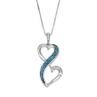 Love Is Forever 1/5 Carat T.W. Blue & White Diamond Sterling Silver Heart Pendant Necklace