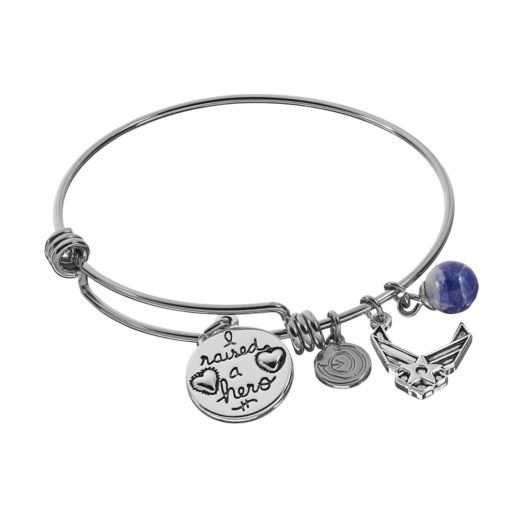 """love this life Sodalite Stainless Steel & Silver-Plated """"Proud Air Force Mom"""" Disc Charm Bangle Bracelet"""