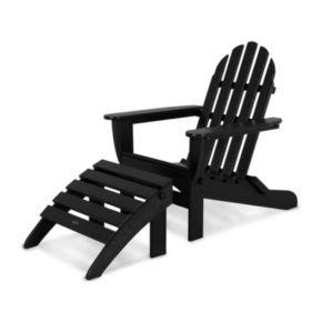 POLYWOOD® 2-piece Classic Outdoor Folding Adirondack Chair & Ottoman Set