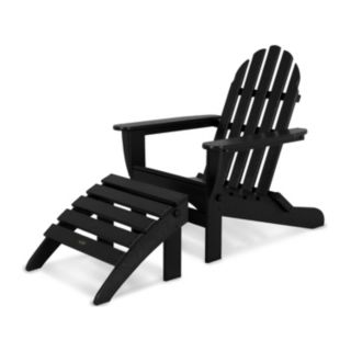 POLYWOOD® 2-piece Classic Outdoor Folding Adirondack Chair & Ottoman Set