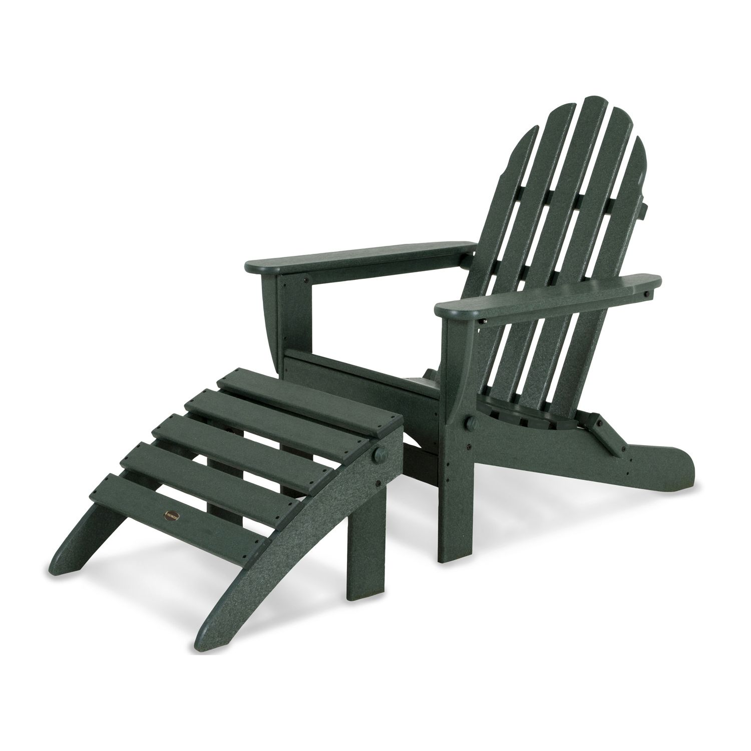 POLYWOOD® 2 Piece Classic Outdoor Folding Adirondack Chair U0026 Ottoman Set