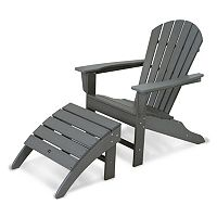 POLYWOOD® 2 pc Classic Outdoor Folding Adirondack Chair & Ottoman Set