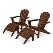 POLYWOOD® 4 pc South Beach Outdoor Adirondack Chair & Ottoman Set
