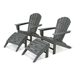 POLYWOOD® 4 pc South Beach Outdoor Adirondack Chair & Ottoman Set