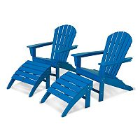 POLYWOOD® 4 pc South Beach Outdoor Bright Adirondack Chair & Ottoman Set