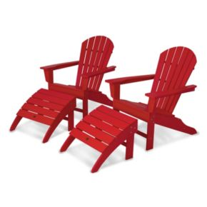 POLYWOOD® 4-piece South Beach Outdoor Bright Adirondack Chair & Ottoman Set
