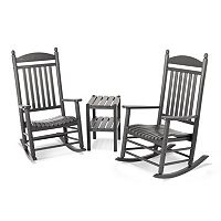 POLYWOOD® 3 pc Jefferson Outdoor Rocking Chair & Side Table Set