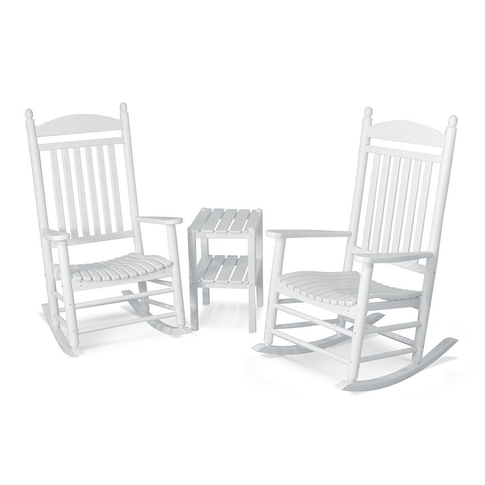 Outdoor furniture all chairs rocking chairs jefferson outdoor rocking - Polywood 3 Piece Jefferson Outdoor Rocking Chair Side Table Set