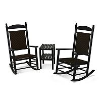 POLYWOOD® 3 pc Jefferson Woven Outdoor Rocking Chair & Side Table Set