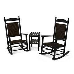 POLYWOOD® 3-piece Jefferson Woven Outdoor Rocking Chair & Side Table Set