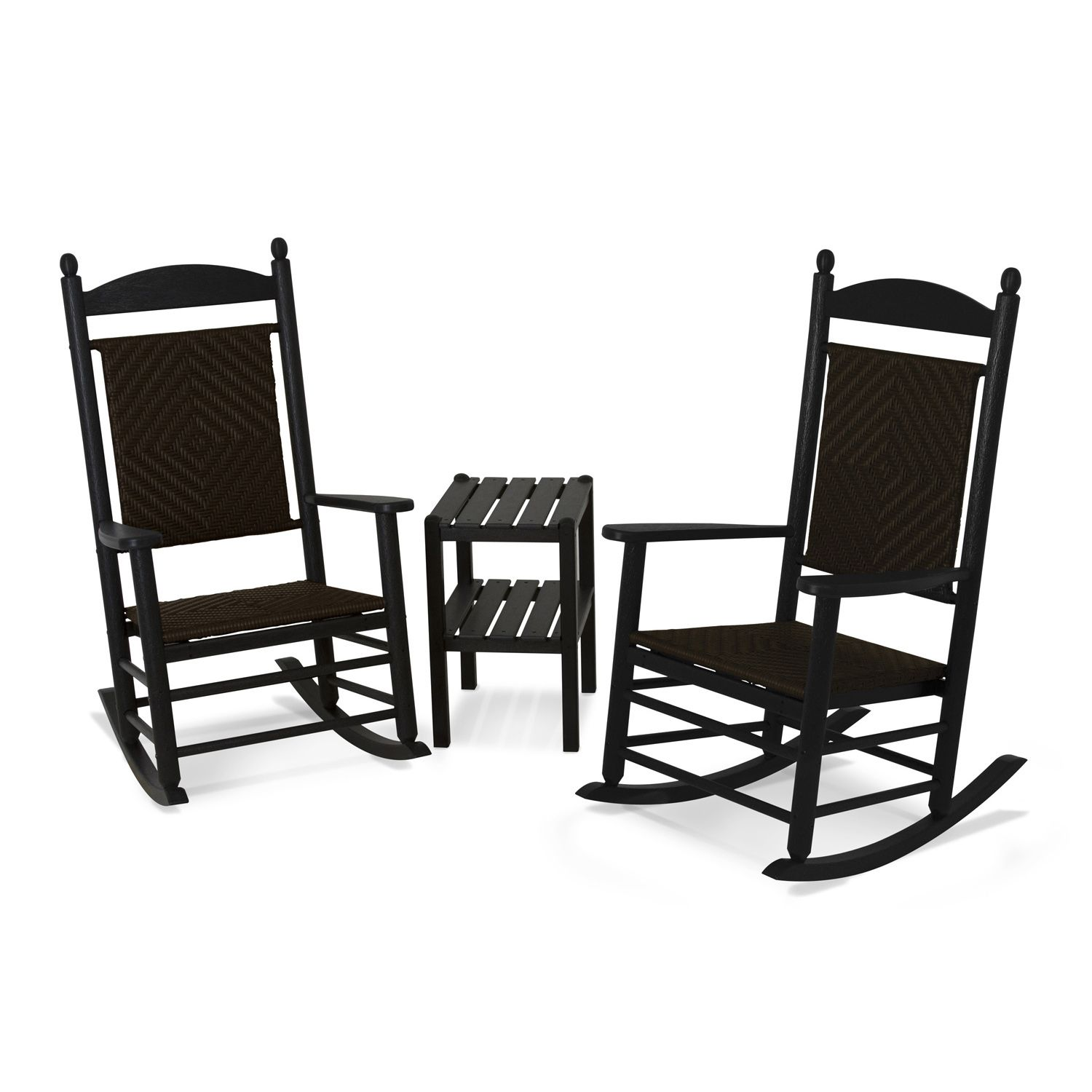 POLYWOOD® 3 Piece Jefferson Woven Outdoor Rocking Chair U0026 Side Table Set