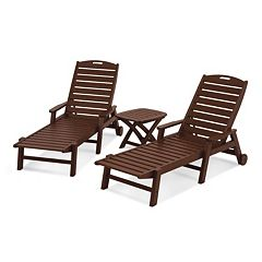 POLYWOOD® 3-piece Nautical Outdoor Folding Chaise Lounge & Side Table Set
