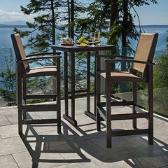 POLYWOOD® 3 pc Coastal Outdoor Bar Chair & Table Set