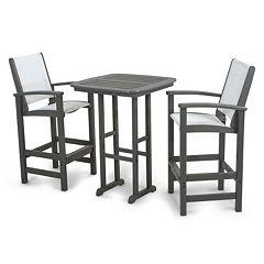 POLYWOOD® 3 pc Coastal Outdoor Bar Chair & Table Set