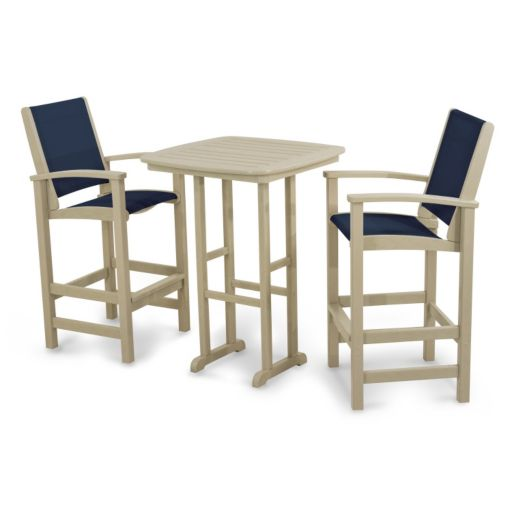 POLYWOOD® 3-piece Coastal Outdoor Bar Chair & Table Set
