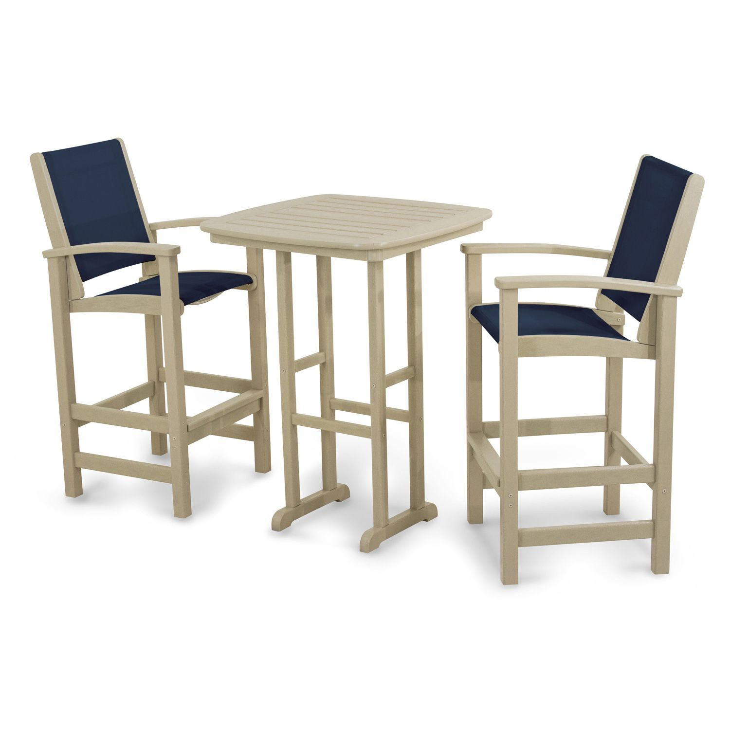 POLYWOOD® 3 Piece Coastal Outdoor Bar Chair U0026 Table Set