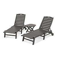 POLYWOOD® 3-piece Nautical Outdoor Folding Chaise Lounge Chair & Side Table Set