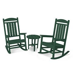 POLYWOOD® 3 pc Presidential Outdoor Rocking Chair & Round Side Table Set