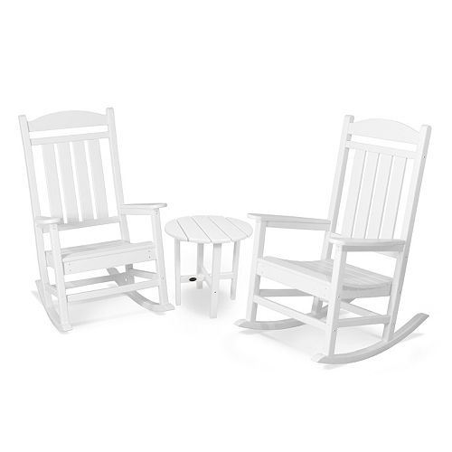 POLYWOOD® 3-piece Presidential Outdoor Rocking Chair & Round Side Table Set