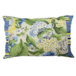 Waverly Floral Flourish Ruffled Reversible Throw Pillow