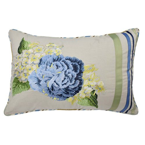 Waverly Floral Flourish Embroidered Throw Pillow