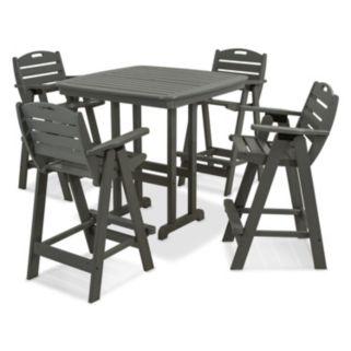 POLYWOOD® Nautical 5-piece Outdoor Bar Table Set