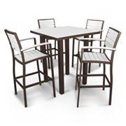 POLYWOOD® Euro 5 pc Outdoor Bar Table Set