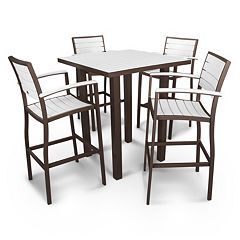 POLYWOOD® Euro 5 pc Outdoor Bar Table Set