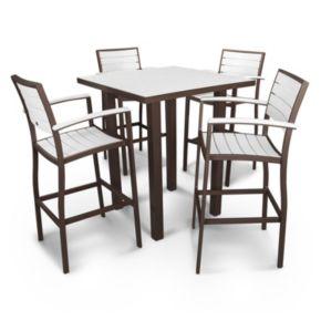 POLYWOOD® Euro 5-piece Outdoor Bar Table Set