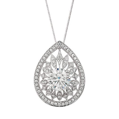 Forever Brilliant 2 3/4 Carat T.W. Lab-Created Moissanite 14k White Gold Teardrop Pendant Necklace