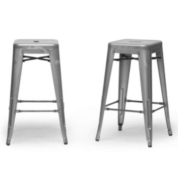 Baxton Studio French Industrial 2-Piece Modern Counter Stool Set