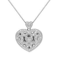 Diamond Accent Sterling Silver Filigree Heart Locket Necklace
