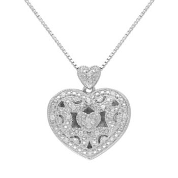 Stella Grace Diamond Accent Sterling Silver Filigree Heart Locket Necklace