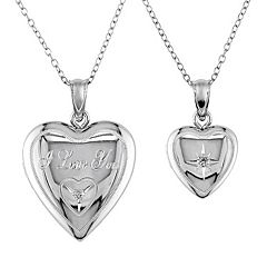 Diamond Accent Sterling Silver 'I Love You' Heart Locket Necklace Set