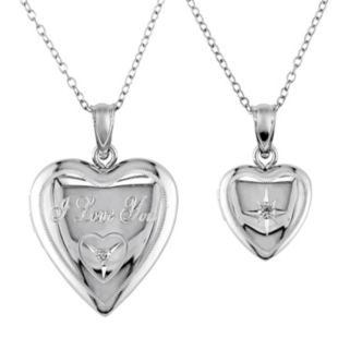 "Diamond Accent Sterling Silver ""I Love You"" Heart Locket Necklace Set"