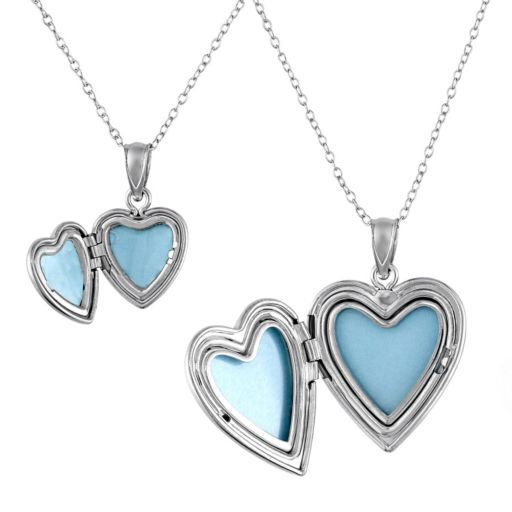 """Diamond Accent Sterling Silver """"I Love You"""" Heart Locket Necklace Set"""