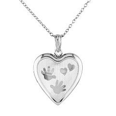 Sterling Silver Handprint Heart Locket Necklace